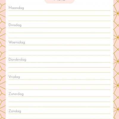 Menuplanner Pink Patterns – A5 Boodschappen planner