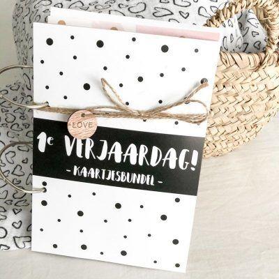 SilliBeads Bewaarbundel kaarten Eerste verjaardag – Zwart-wit – A5 Bewaarbundels