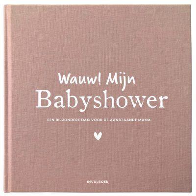 Pink Peach Mijn babyshower boek – Linnen roze/rood Babyshower cadeau