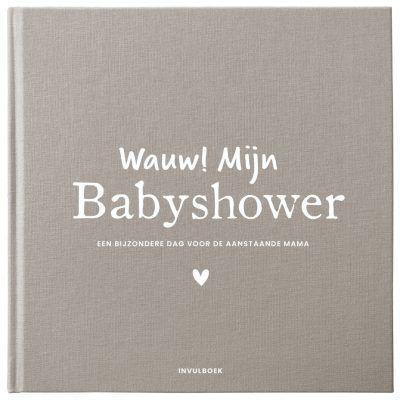 Pink Peach Mijn babyshower boek – Linnen bruin Babyshower cadeau