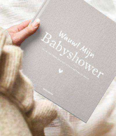 Pink Peach Mijn babyshower boek – Linnen beige Babyshower cadeau