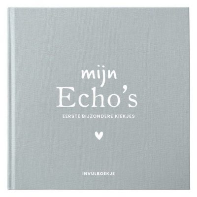 Pink Peach Mijn Echo's invulboekje – Linnen blauw Echoboekje