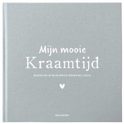 Pink Peach Mijn Kraamtijd invulboek – Linnen blauw Kraambezoekboek