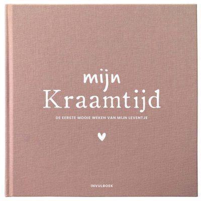 Pink Peach Mijn Kraamtijd invulboek – Linnen roze/rood Kraambezoekboek