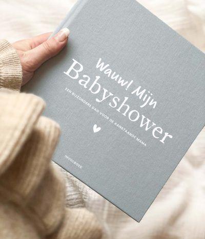 Pink Peach Mijn babyshower boek – Linnen blauw Babyshower cadeau