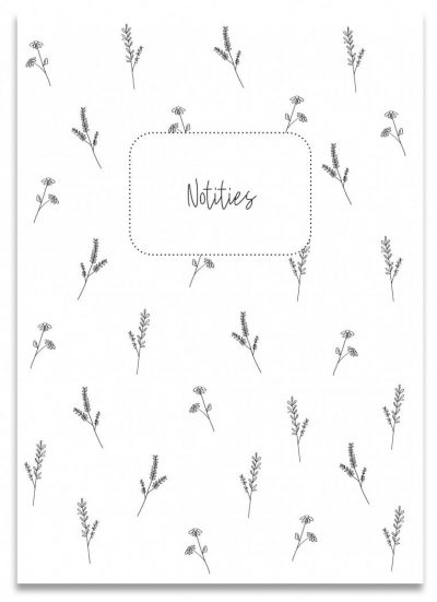 Creations of Happiness Schriftje notities – Zwart-wit – A6 Notitieboek van A6 formaat