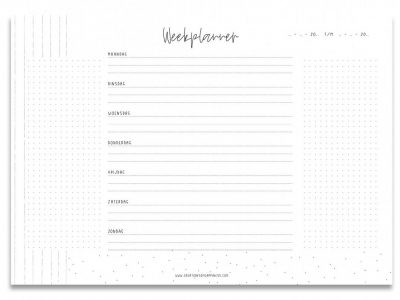 Creations of Happiness Weekplanner – Zwart-wit – A4 Notitieblokken