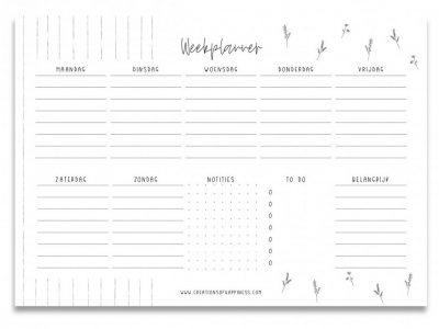 Creations of Happiness Weekplanner – Zwart-wit – A5 Notitieblokken