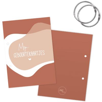 SUS Design Bewaarbundel geboortekaartjes – Roestbruin abstract – A5 Bewaarbundel geboortekaartjes