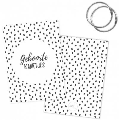 SUS Design Bewaarbundel geboortekaartjes – Zwart-wit stip – A5 Bewaarbundel geboortekaartjes