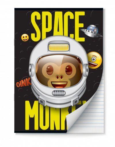 Emoji Space Monkey Schriften lijntjes – A4 – Set van 2 stuks Schriften