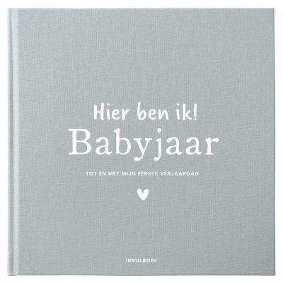 Pink Peach Mijn babyjaar invulboek – Linnen Blauw Babyboek met linnen cover