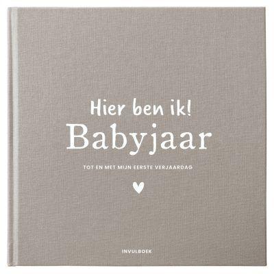 Pink Peach Mijn babyjaar invulboek – Linnen Bruin Babyboek met linnen cover
