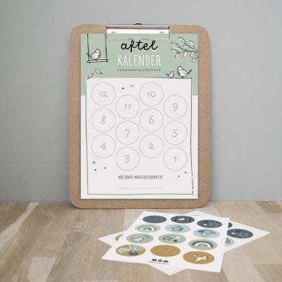 Thuismusje Aftelkalender – Groen – A4 Aftelkalender
