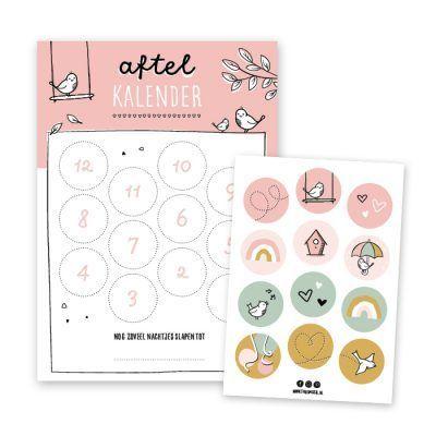 Thuismusje Aftelkalender – Roze – A4 Aftelkalender