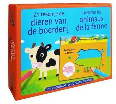 Zo teken je de dieren van de boerderij – 12 sjabloonkaarten Kleurboek dieren