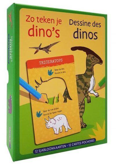 Zo teken je dino's – 12 sjabloonkaarten Dino kleurboek