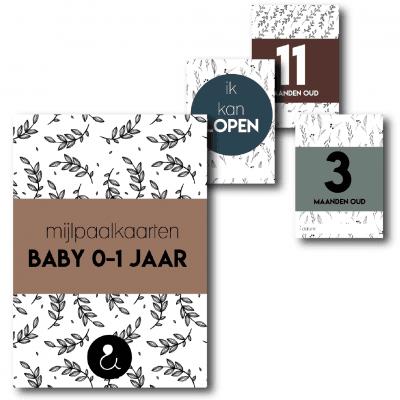 Studio Ins & Outs Mijlpaalkaarten set Botanical – Baby's eerste jaar Mijlpaalkaarten baby