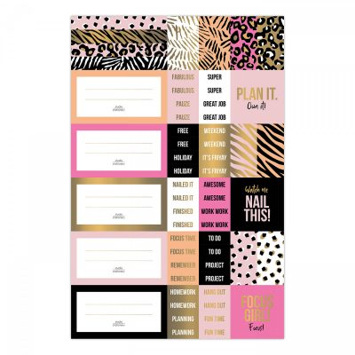 Studio Stationery Stickervellen Pink & Gold – 3 vellen Scrapbook stickers