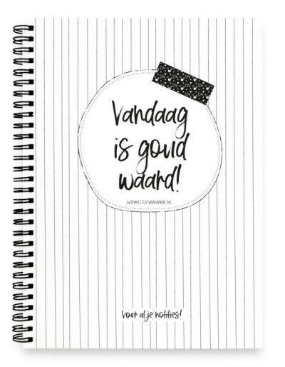 Winkeltjevananne Notitieboek Vandaag is goud waard – A5 Notitieboek