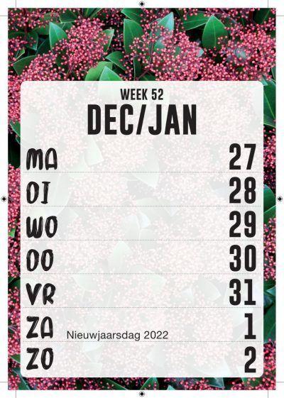 Bloemen Grootletter Weekkalender 2022 Jaarkalender