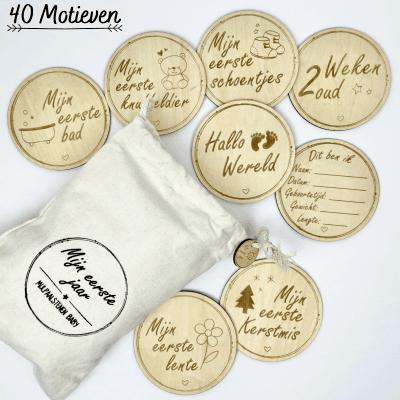 Dezolo Houten Mijlpaalkaarten Baby 40 stuks Babyshower cadeau