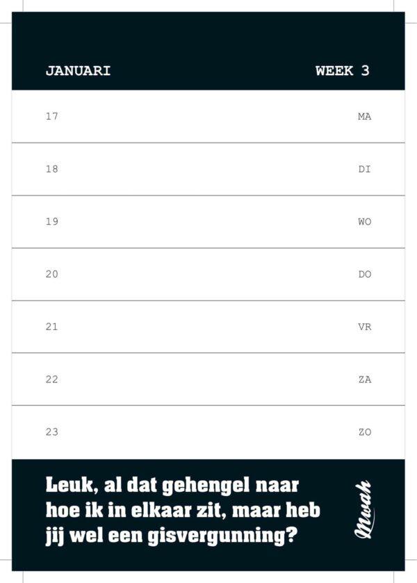 Mwah Weekkalender 2022 Grappige kalender