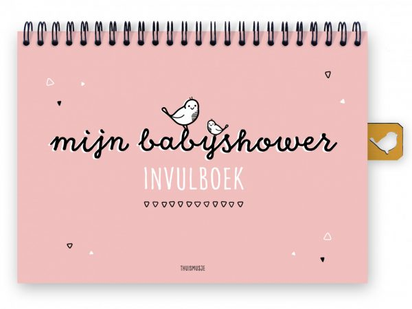 Thuismusje Mijn babyshower invulboek – Roze Babyshower cadeau
