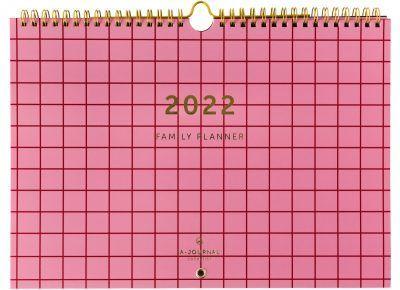 A-Journal Familieplanner 2022 A4 – Roze Ruit Familie kalender