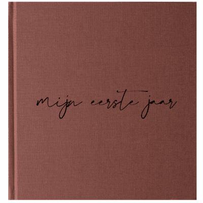 KIDOOZ Mijn eerste jaar babyboek – Linnen Roest Babyboek